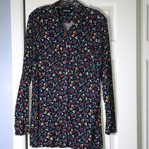 Lands End L tunic button up floral blouse